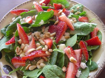 Strawberry, Pinenuts and Feta Salad with a zesty Lemon Dressing | The Sisters Cafe