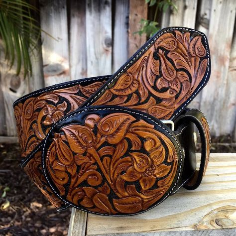 Purple Tribal Flower Motif Handcarved Oil-Tanned Women/'s Leather Belt Handmade 1-38
