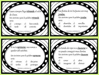 Synonyms And Antonyms Task Cards In Spanish Teaching Stuff