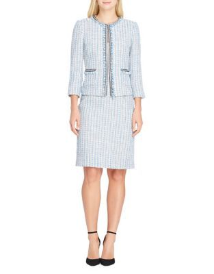 Tahari Arthur S. Levine Fringed Boucle Jacket and Skirt