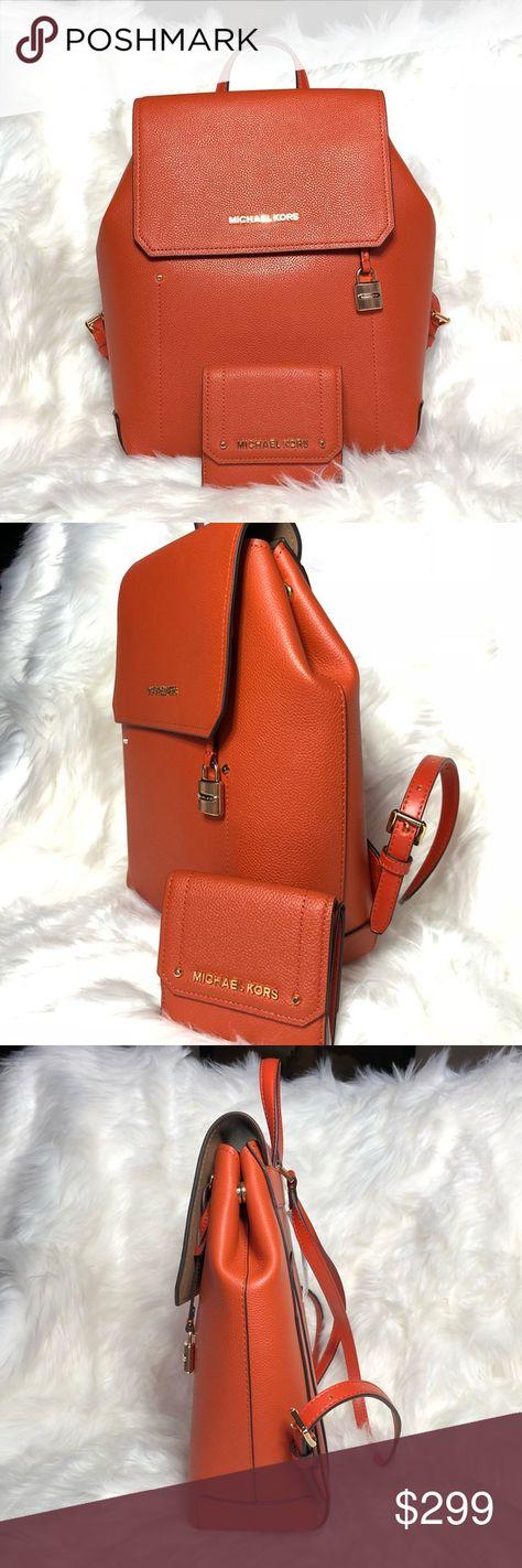 28a749f75b1c Michael Kors Hayes backpack wallet set Bundled 2pcs Set Backpack Wallet Set  in Orange Authentic Michael Kors Hayes Leather Medium Size Backpack Gold  Tone ...
