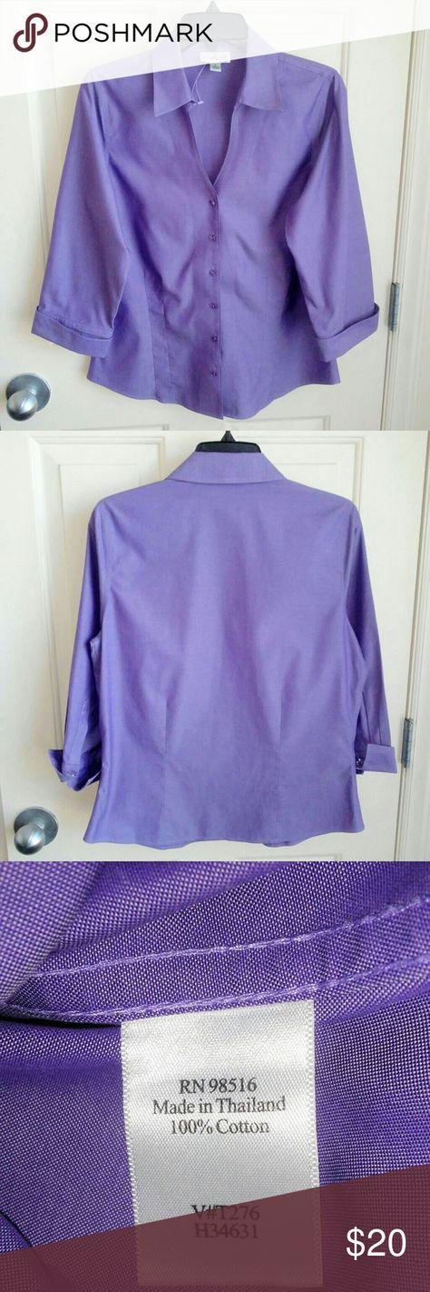 84081da1 Coldwater Creek Women Button Down Shirt NWT Coldwater Creek Women Button  Down Purple Dress Shirt Size
