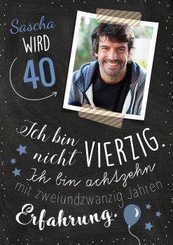 Witzige Einladungskarte Zum 40 Geburtstag Mit Foto Und Spruch Zur