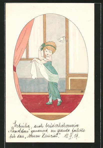 Künstler-AK M.Munk Nr.: kleine Dame in Abendkleid 0