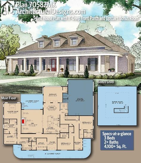 Plan 70587mk 3 Bed House Plan With 8 Deep Front Porch And Upstairs Bonus Room Architectural Design House Plans House Plans House Design
