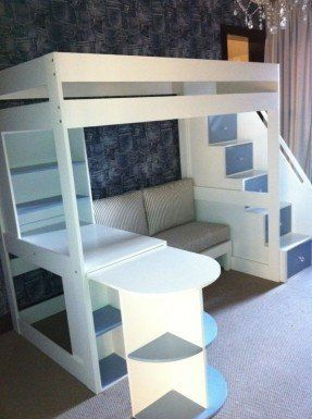 Bunk Bed Sofa Desk With Images Kids