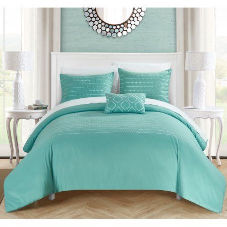 Chic Home 4 Piece Kingston Super Soft Microfiber Stitch Embroidered King Duvet Cover Set Blue Shams And De Turquoise Bedding Bedroom Turquoise Coastal Bedrooms