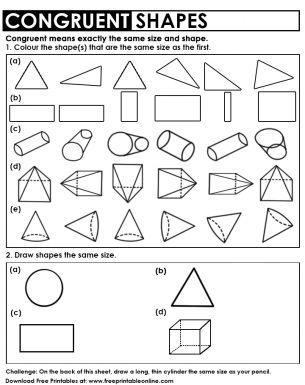Congruent Shapes Worksheet With Images Shapes Worksheets