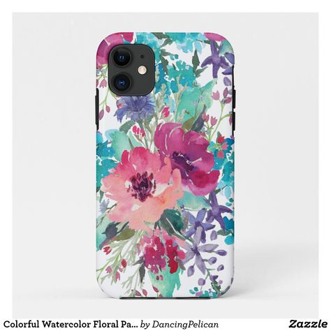 Colorful Watercolor Floral Pattern Case-Mate iPhone Case