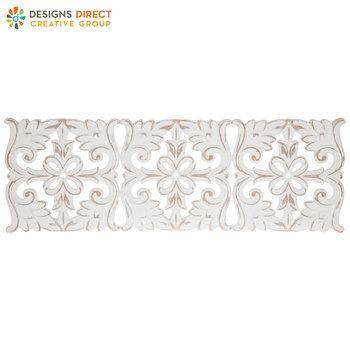 White Distressed Medallion Wood Wall Decor Carved Wood Wall Art Wood Wall Decor Wall Medallion