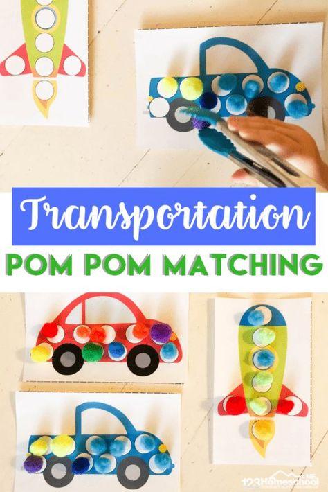 FREE Transportation Pom Pom Matching