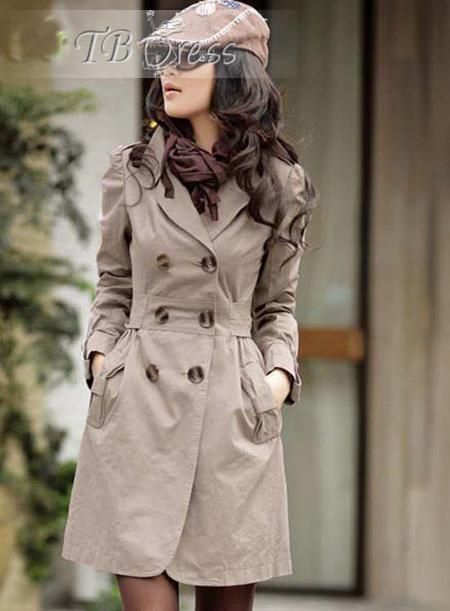 New Fashion Womens Slim Fit Trench Double breasted Coat Jacket Outwear