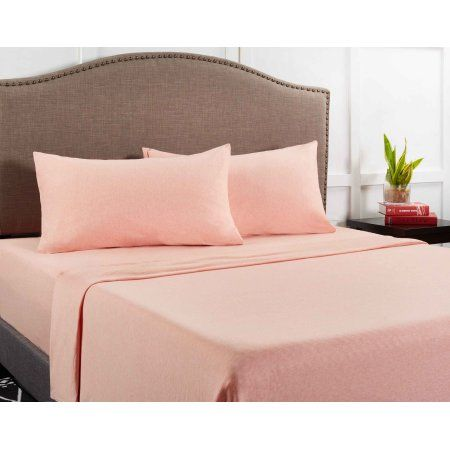 Mainstays Knit Jersey Bed Sheet Set 1 Each Pink Full 60 Cotton