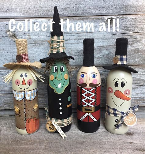"""This unique snowman decor is perfect for holiday decorating, a housewarming gift, gift exchange, and more. Featuring beautiful hand painted details, hes one snowman worth melting for! Snowman Wine Bottle Decor • Great holiday gift, hostess gift, or office gift • Measures approx. 12"""""""