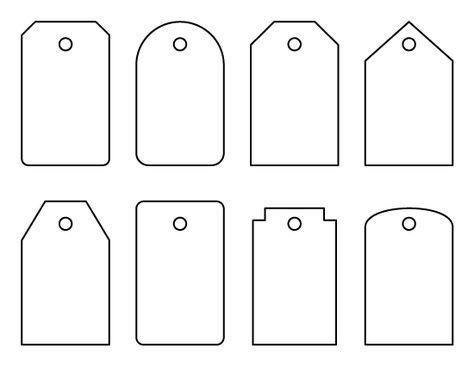 Luggage tag pattern. These could also be used as gift tags. Use the printable outline for crafts, creating stencils, scrapbooking, and more. Free PDF template to download and print at http://patternuniverse.com/download/luggage-tag-pattern/