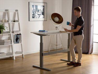 Table A Hauteur Reglable Par Electronique Blanc Gris 180 X 80 Cm Uplift Bureau Reglable Meuble Chambre Mobilier Bureau