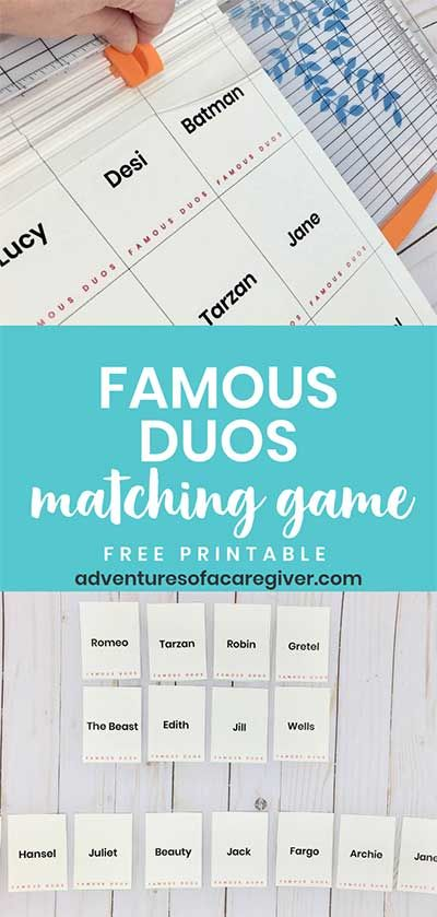 photograph about Free Printable Activities for Dementia Patients named Well-known Duos No cost Printable - Alzheimers and Dementia