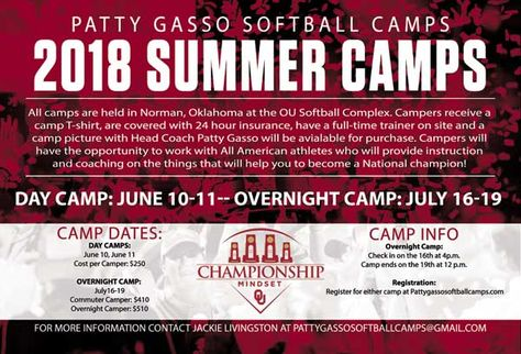Patty Gasso Softball Camps Softball Camp University Of Oklahoma Ou Softball
