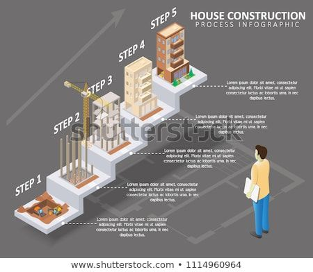 House Construction Process Infographic Vector Isometric Apartment