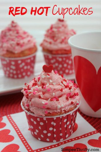 Red Hot Cupcakes: Red Hots are a favorite candy of mine so we incorporated them into these cupcakes. If your looking for a Valentine's Day treat or simply a treat for anytime of the year, try these Red Hot Cupcakes! You will enjoy them!
