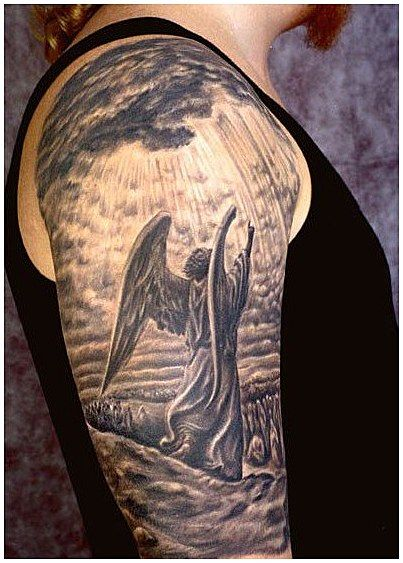 Tattoo History And What They Mean Today With Images Angel Sleeve Tattoo Tattoo Sleeve Men Angel Tattoo