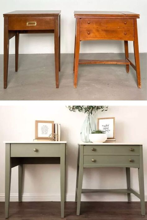 See this sewing table turned nightstands upcycled tables diy for creative painted furniture inspiration. Before and after thrift store nightstands upcycling project lets you decorate your bedroom on a budget.