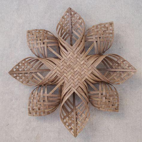 beeslikehoney:  Woven Star Christmas ornament, snowflake chubby chevron twill sculpture Scandinavian Cherokee tree topper by Baskauta27http://ift.tt/1toGxH7