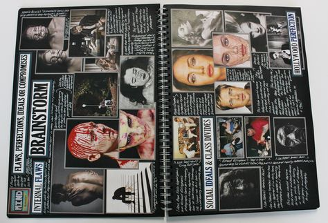 A2 Photography, A3 Black Sketchbook, Brainstorm, CSWK Theme 'Flaws, Perfections, Ideals and Compromises', Thomas Rotherham College, 2015-16