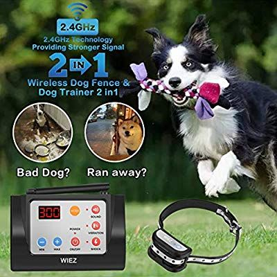 Wiez Dog Fence Wireless Training Collar Outdoor 2 In 1 Electric Wireless Fence For Dogs W Remote Adjustable Ra Wireless Dog Fence Dog Fence Small Dog Fence