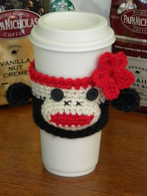 Crocheted Sock Monkey Cup Cozy by GetTheeToAYarnery on Etsy
