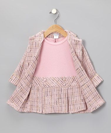 Take a look at this Pink Bouclé Dress & Coat - Toddler & Girls by Sweet Heart Rose on #zulily today!