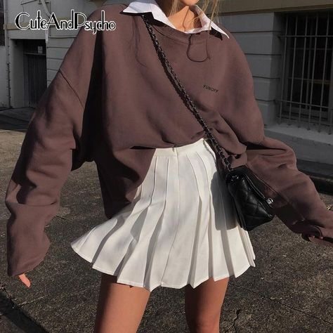 Vintage Casual Y2K Brown Sweatshirts Women Crewneck Basic Letter Embroidery Shirts Oversize Harajuku Aesthetic Top Cuteandpsycho - Brown / S