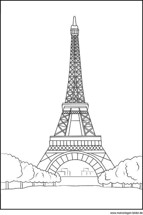 Ausmalbild vom Eiffelturm in Paris in 2020 Eiffelturm