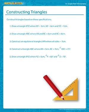 Constructing Triangles Free Printable Construction Of A Triangle Worksheet For Middle School Math Worksheets 7th Grade Math Worksheets Kids Math Worksheets