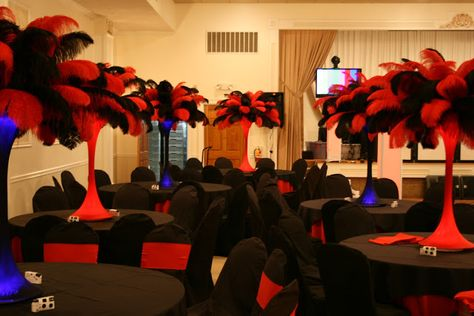 amazing sweet 16 party ideas | The Red and Black feather centerpieces were perfect for a Casino theme ...