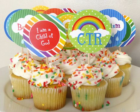 Great to be 8 Rainbow Cupcake Toppers Printable LDS Baptism 2