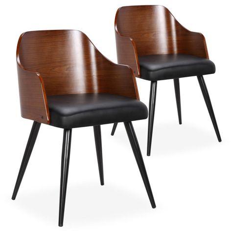 Chaise Noisetier Massif Fonce Assise Similicuir Noir Persy Lot De 2 Chaise Salle A Manger Chaise Et Chaise Scandinave