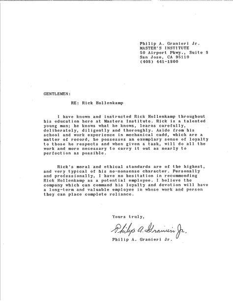 Letter Of Recommendation, Masters Inst Rick Hollenkamp - cna resume objective