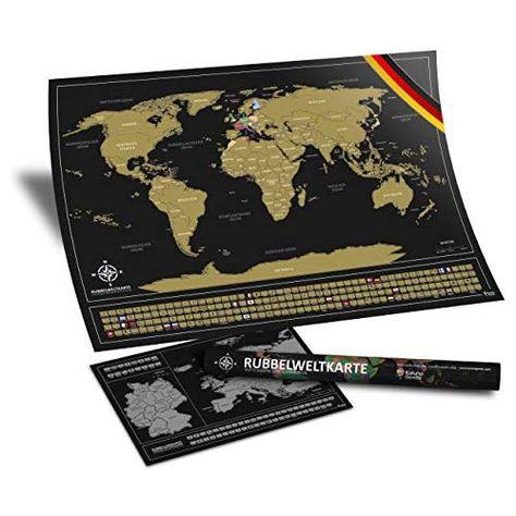 Kalunagoods Rubbel Weltkarte Deutsch 84 X 58 Cm Landkarte Mit