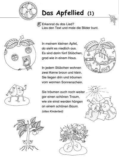 Gedicht Apfel Schule Google Suche Kindergarten Lieder