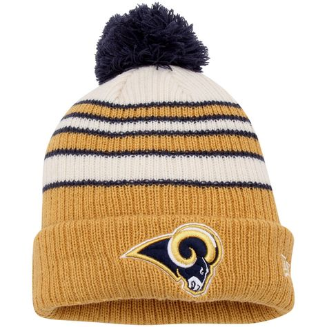 online store 360cc 3b559 Los Angeles Rams New Era Traditional Stripe Cuffed Knit Hat - Cream Gold
