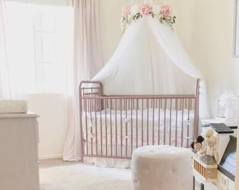 Juliette Canopy Serene Floral Crib Canopy Bed Crown Mobile Nursery Decor Teepee Baby Shower Gift Pink Peonies And Roses Crib Canopy Bed Crown Cribs