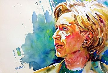 Hillary By David Lobenberg Watercolor 15 Inches X 20 Inches