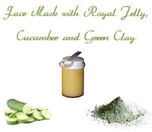 Homemade Face Mask for Oily Skin with Royal Jelly, Cucumber and Green Clay #diyfacemasksexfoliate #CucumberFaceMask #MatchaGreenTeaMask