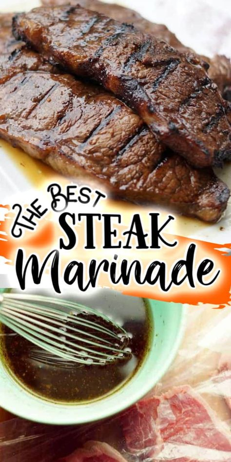 This easy marinade takes seconds to whip together and you will definitely agree that is the best steak marinade ever! It's made with simple ingredients that you already have in your pantry, including A-1, Worcestershire Sauce, Soy Sauce and Garlic. With bold flavors, this steak marinade will turn any steak into a show stopper!