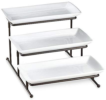Amazon Com B Smith With Style 3 Step Server Serving Trays Bed Bath And Beyond Tiered Server Serveware