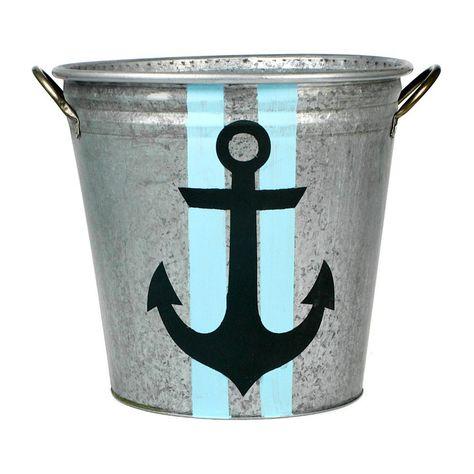 Nautical Print Galvanized Bucket Galvanized Buckets Anchor Bathroom Bathroom Design Luxury