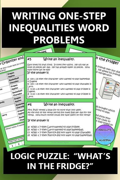 Writing One Step Inequalities Logic Puzzle What S In The Fridge Inequality Word Problems Word Problems Inequality