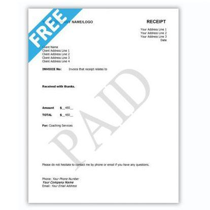 Receipt Sample Template Coaching Tools From The Coaching Tools Company Com In 2021 Coaching Tools Templates Free Coaching