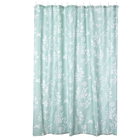Turquoise Bird Printed Shower Curtain